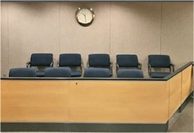 Jury box with empty chairs